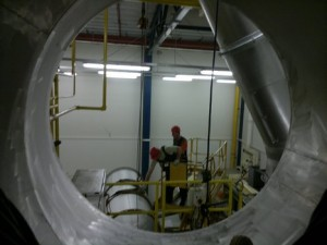 Монтаж элементов системы пылеудаления